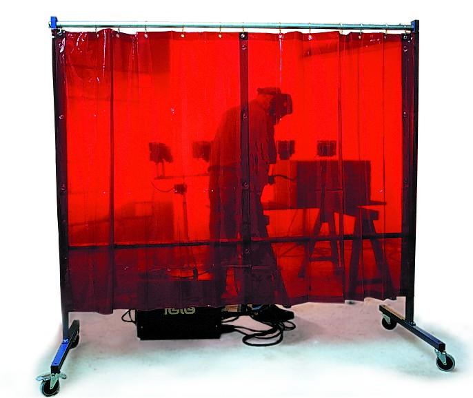 1-teilige Stellwand mit 2 Vorhängen, rollend