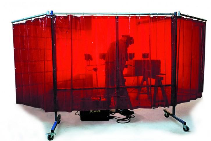 3-teilige Stellwand mit 4 Vorhängen, rollend
