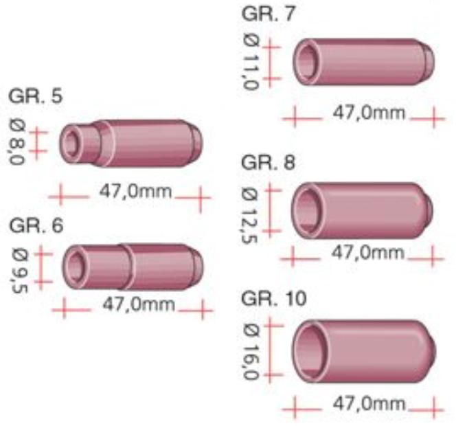 Gasdüse aus Keramik für SR 17, SR 18, SR 26, ABITIG 17, ABITIG 18, ABITIG 26, SBT 17, SBT 18
