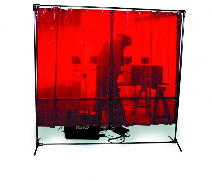 1-teilige Stellwand mit 4 Streifenvorhängen, feststehend
