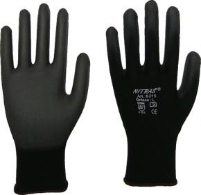 Nitras Nylon Handschuhe mit PU- Beschichtung schwarz Gr. 10
